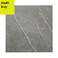 Ultimate Grey Matt Marble effect Porcelain Floor tile, Pack of 3, (L)595mm (W)595mm