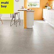 Kontainer Medium grey Matt Concrete effect Porcelain Floor tile, Pack of 3, (L)590mm (W)590mm