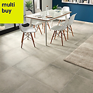 Kontainer Light grey Matt Concrete effect Porcelain Floor tile, Pack of 3, (L)590mm (W)590mm