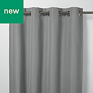 Klama Grey Plain Blackout Eyelet Curtain (W)167cm (L)183cm, Single