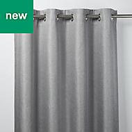 Moggo Grey Herringbone Blackout Eyelet Curtain (W)167cm (L)183cm, Single