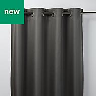 Moggo Dark grey Herringbone Blackout Eyelet Curtain (W)167cm (L)228cm, Single
