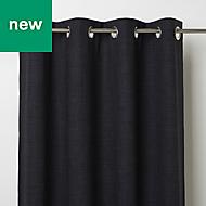 Novan Black Plain Blackout Eyelet Curtain (W)117cm (L)137cm, Single