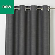 Novan Grey Plain Blackout Eyelet Curtain (W)167cm (L)183cm, Single