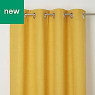 Novan Yellow Plain Blackout Eyelet Curtain (W)117cm (L)137cm, Single