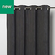 Pahea Dark grey Chenille Blackout Eyelet Curtain (W)117cm (L)137cm, Single