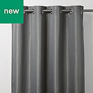 Thanja Grey Spotted Blackout Eyelet Curtain (W)167cm (L)228cm, Single
