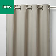 Vestris Beige Plain Blackout Eyelet Curtain (W)117cm (L)137cm, Single