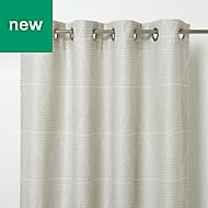 Kalay Beige Geometric Unlined Eyelet Curtain (W)167cm (L)228cm, Single