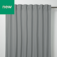 Klama Grey Plain Unlined Pencil pleat Curtain (W)167cm (L)228cm, Single