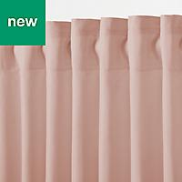 Klama Pink Plain Unlined Pencil pleat Curtain (W)167cm (L)183cm, Single