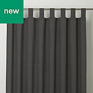 Chambray Grey Plain Unlined Tab top Curtain (W)167cm (L)183cm, Single