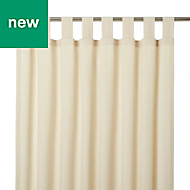 Chambray Cream Plain Unlined Tab top Curtain (W)117cm (L)137cm, Single