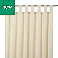 Chambray Cream Plain Unlined Tab top Curtain (W)167cm (L)228cm, Single