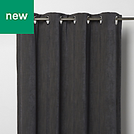 Pahea Dark grey Chenille Lined Eyelet Curtain (W)167cm (L)228cm, Single