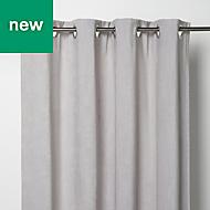 Pahea Grey Chenille Lined Eyelet Curtain (W)117cm (L)137cm, Single