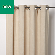 Pahea Beige Chenille Lined Eyelet Curtain (W)167cm (L)228cm, Single