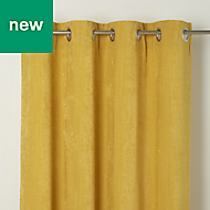 Pahea Yellow Chenille Lined Eyelet Curtain (W)167cm (L)183cm, Single