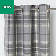 Podor Grey Check Unlined Eyelet Curtain (W)167cm (L)228cm, Single