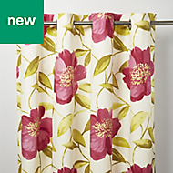Louga Cream, green & pink Floral Unlined Eyelet Curtain (W)140cm (L)260cm, Single