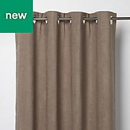Pahea Brown Chenille Blackout Eyelet Curtain (W)135cm (L)260cm, Single