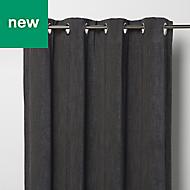 Pahea Dark grey Chenille Blackout Eyelet Curtain (W)135cm (L)260cm, Single