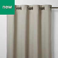 Vestris Beige Plain Blackout Eyelet Curtain (W)140cm (L)260cm, Single