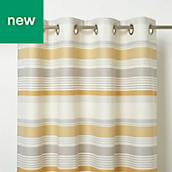 Humber Blue, white & yellow Striped Unlined Eyelet Curtain (W)140cm (L)260cm, Single