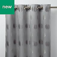 Kolla Grey Spotted Unlined Eyelet Curtain (W)140cm (L)260cm, Single