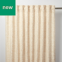 Mulgrave Beige Floral Unlined Pencil pleat Curtain (W)140cm (L)260cm, Single