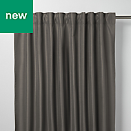 Klama Dark grey Plain Unlined Pencil pleat Curtain (W)140cm (L)260cm, Single