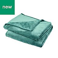 Lulu Green Plain Fleece Throw