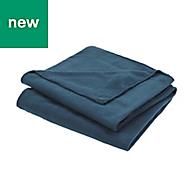 Blue Plain Fleece Throw