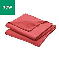 Red Plain Fleece Throw