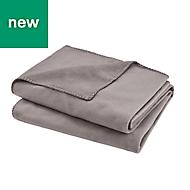 Grey Plain Fleece Throw
