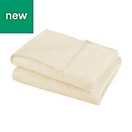 Ivory Plain Fleece Throw