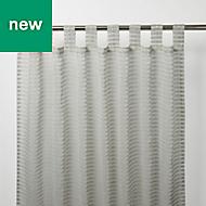 Tolok Grey Horizontal stripe Unlined Tab top Voile curtain (W)140cm (L)260cm, Single