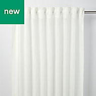 Fola White Horizontal stripe Unlined Pencil pleat Voile curtain (W)140cm (L)260cm, Single