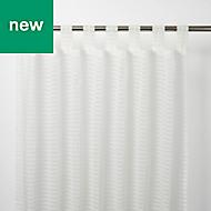 Tolok White Horizontal stripe Unlined Tab top Voile curtain (W)140cm (L)260cm, Single