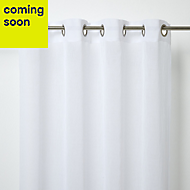 Yena White Plain Unlined Eyelet Voile curtain (W)140cm (L)260cm, Single