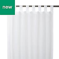 White Plain Unlined Tab top Voile curtain (W)140cm (L)260cm, Single