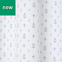 Galene White Grey Floral country Unlined Eyelet Voile curtain (W)140cm (L)260cm, Single