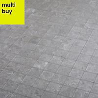 Soft lime stone Grey Stone effect Porcelain Mosaic tile, (L)300mm (W)300mm