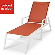 Swindon Orange & white Metal Sun lounger
