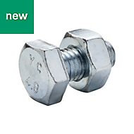 M10 Hex bolt & nut (L) 20mm, Pack of 10