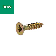 Diall Yellow zinc plated Carbon steel Wood screw (Dia)3.5mm (L)16mm, Pack of 100