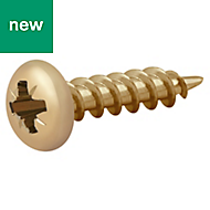 Diall Yellow zinc plated Carbon steel Wood screw (Dia)4mm (L)16mm, Pack of 100