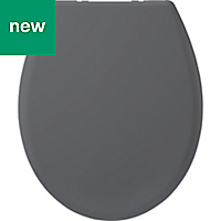 Cooke & Lewis Tivellea Grey Soft close Toilet seat