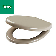Cooke & Lewis Tivellea Taupe Soft close Toilet seat
