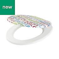 Cooke & Lewis Capitals Multicolour Printed Standard close Toilet seat